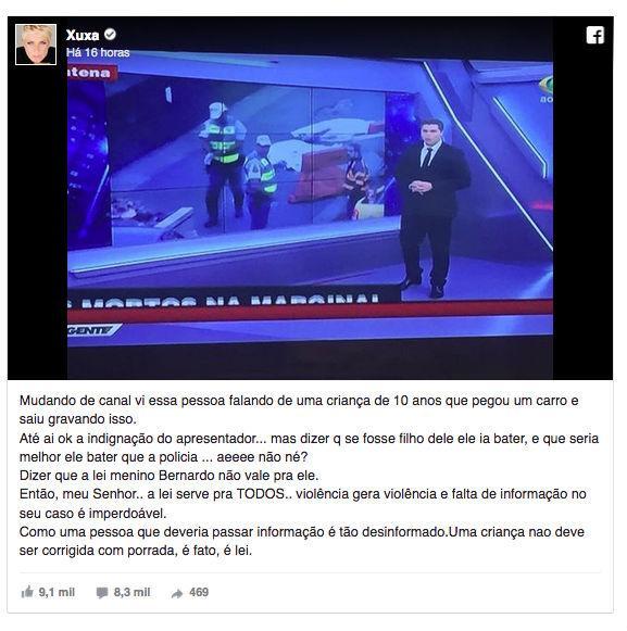 Xuxa critica filho de Datena e apresentador rebate: